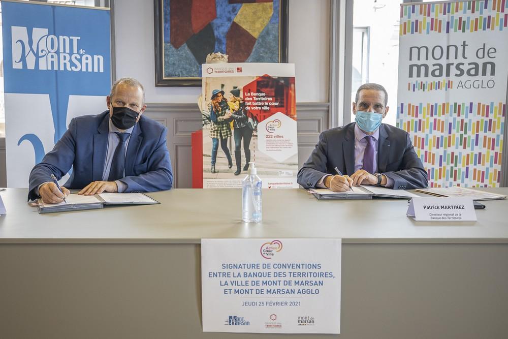 image : Charles Dayot - Patrick Martinez - Signature de la convention Banque Territoires - Mont de Marsan et son Agglomération